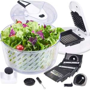 FAVIA 6 Quart Large Salad Spinner Vegetable Dryer Lettuce Drainer with Multifunctional Vegetable