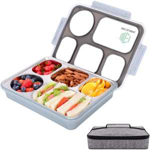 Large Bento Lunch Box with 5 Compartments, Leakproof Lunch Containers with Removable Stainless-Steel Tray for Adults, On-the-Go Meal and Snack Packing, Lunch Bag Included(Blue)