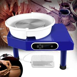 Updated 350W Pottery Wheel Machine with Removable Basin and Pedal for Ceramic Work Clay Art Craft (Blue) (Blue)