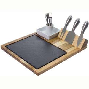 Zelancio Slate Cheese Board Set, 10 Piece Set Includes 4 Stainless Steel Cheese Tools, Premium Acacia Serving Tray with Slate Board