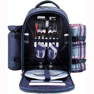 Hiking Camping Grey Sports Arkmiido 4 Person Picnic Backpack with Insulated Cooler Compartment Includes Tableware /& Fleece Blanket for Picnic Time,Outdoor