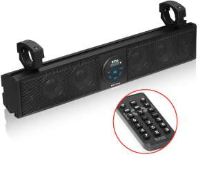 BOSS Audio Systems BRT26A UTV Sound Bar - 26 Inch Wide, IPX5 Rated Weatherproof, Bluetooth, Amplified, 4 Inch Speakers, Horn Loaded Tweeters, Easy Installation