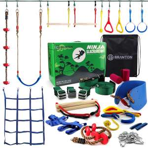 Ninja Warrior Obstacle Course for Kids - Ninja Slackline 50' with 10 Accessories for Kids, Includes Swing, Obstacle Net Plus Grip Tape