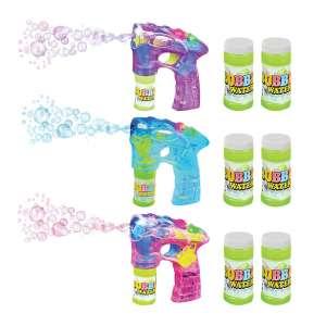 ArtCreativity Blue Pink 7 Inches Bubble Guns and 7 Bottles Refill