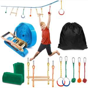 Sonyabecca Ninja Obstacle Course Kit with 7 Hanging Swing Obstacles Warrior Training with 40FT