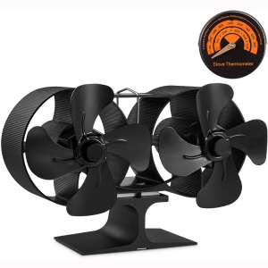 PYBBO Wood Stove Double Motors Fan, Small Size 8 Blades Fireplace Silent Heat Powered Eco Stove Fan