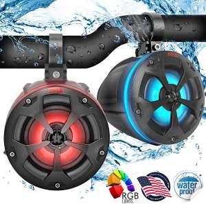 """2-Way Dual Waterproof Off-Road Speakers - 4"""" 800W Marine Grade Wakeboard Tower Speakers System w:RGB Lights & Remote, Full Range Outdoor Audio Stereo Speaker"""