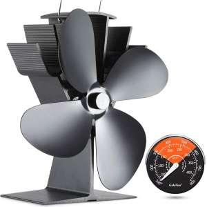GALAFIRE [ 2 Years ] 122°F Start Silent Heat Powered Wood Stove Fan 4 Blade Black Small