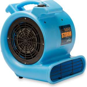 Max Storm 1:2 HP Durable Lightweight Air Mover Carpet Dryer Blower Floor Fan for Pro Janitorial Cleaner, Blue