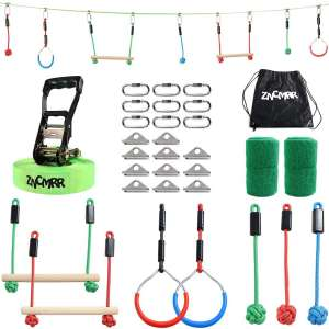 ZNCMRR Outdoor Backyard Ninja Obstacle Course Line with 7 Hanging Obstacles, Adjustable Buckles, Tree Protectors and Carrying Bag Capacity 300lbs