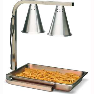 Carlisle HL7237PS00 Aluminum Two Bulb Free Standing Adjustable Heat Lamp with Pan and Screen