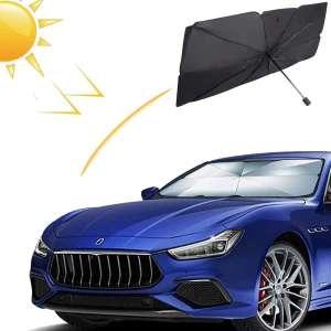 HOKEEA Car Windshield Sun Shade Umbrella - Foldable Sun Shades Cover for Front Window Blocks UV Rays Sun Visor Protector