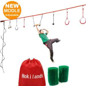 Hokilands Ninja Line Obstacle Course Kit for Kids, 45' Ninja Slackline with 8 Hanging Obstacles & Adjustable Buckles