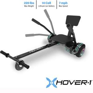 Hover-1 Chrome 2.0 Electric Hoverboard and Adjustable Go-Kart Attachment - Converts Hoverboard
