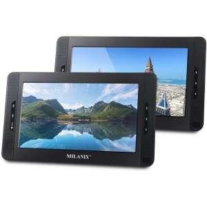 Milanix 10 Portable Dual Screen DVD Player System For Car With Built In 5 Hour Rechargeable Battery