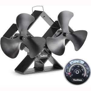 VonHaus 6-Blade Twin Motor Double Heat Powered Wood Stove Fan with Temperature Gauge