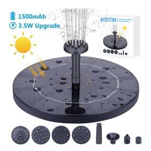 AISITIN 3.5W Built-in 1500mAh Battery Solar Fountain Pump