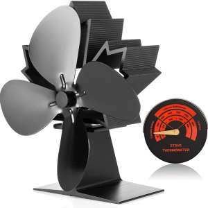 CWLAKON Wood Stove Fan-Silent Operation 4 Blades with Stove Thermometer