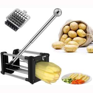 French Fry Cutter, Professional Potato Chipper with Extended Handle, Vegetable Slicer Chopper