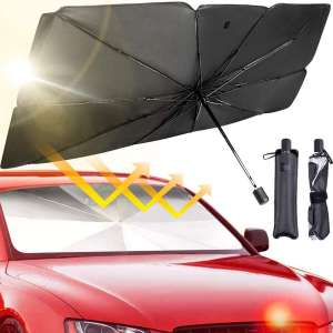 JASVIC Car Windshield Sun Shade Umbrella - Foldable Car Umbrella Sunshade Cover UV Block Car Front Window