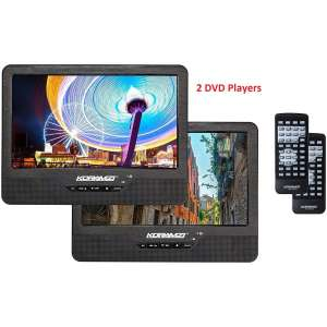 Koramzi Portable 9 Dual Screen Dual DVD Player W Rechargeable Battery