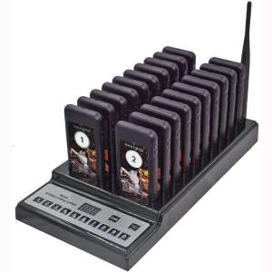NADAMOO Restaurant Pager System with 20 pcs Coaster Pagers and 1 pc 999-Channel Keypad Call Button