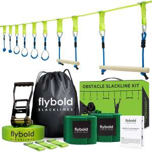 flybold Ninja Obstacle Course Line Kit 40' Slackline 8 Hanging Obstacles with Adjustable Buckles Tree Protectors Carry Bag Capacity 300lbs