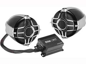 BOSS Audio Systems MC440B Motorcycle Weatherproof Speaker System - Bluetooth 2 Channel Compact Amplifier, 3 Inch Speakers, Volume Control