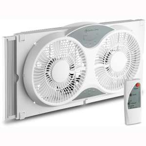 BOVADO USA Twin Window Cooling Fan with Remote Control - Electronically Reversible