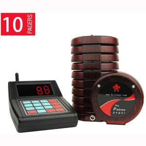 Digital Coaster Wireless Paging System Restaurant Queue System with 10pcs Coaster Pagers and 1pc Call Button Keypad
