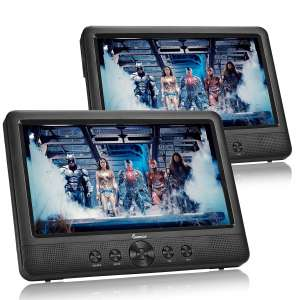 "IMPECCA DVD Player, Portable 10.1"" Dual Screen DVD Player for Car Headrest or Home with USB"