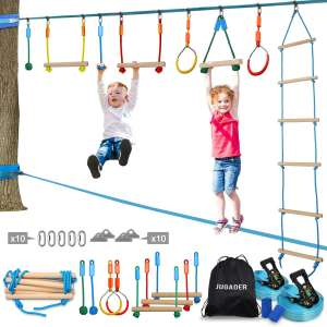 Jugader Ninja Warrior Obstacle Course for Kids - 50FT Ninja Slackline with Ladder, Gym Rings, Monkey Bars, Rope Knots