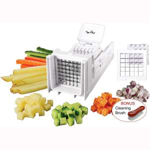 Tiger Chef French Fry Cutter and Vegetable Chopper - Easy Dicer With 2 Interchangeable Blades