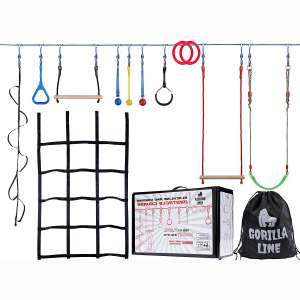 Hyponix Sporting Ninja Warrior Training Equipment for Kids 60' Feet | Incl. Monkey Net - Comes with 12 Obstacles
