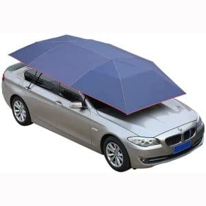Mein LAY Car Tent Semi-Automatic Hot Summer Car Umbrella Cover Portable Movable Carport Folded Automobile Protection Sun Shade Anti-UV Canopy Sun-Proof Shelters SUV Blue