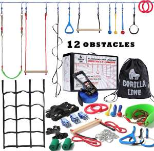 Ninja Warrior Obstacle Course for Kids - 60 ft Slack Line 12 Obstacles – Ninja Slackline Obstacle Course for Kids Backyard – Ninja Warrior Training Equipment for Kids Monkey Bars
