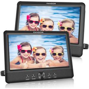 FANGOR 10.5 Dual DVD Player for Car Portable Headrest Video Players with 2 Mounting Brackets