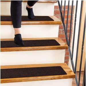 "Carpet Stair Treads Non-Slip 8""x30"" Brown - (15-Pack) Runners for Wooden Steps"