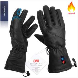 Kamlif Heated Gloves for Men Women Heat Touch Screen Leather Gloves Electric Rechargeable Battery Powered