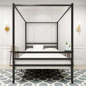 HOMERECOMMEND Canopy Bed 4 Post Cozy Bed Frame