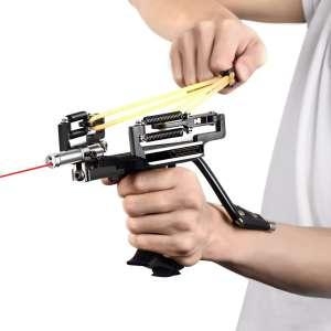 Popshot(TM) Hunting Laser Slingshot with Adjustable Spring and Arrow Rest Archery Bowsling