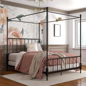 DHP Jenny Lind Metal Bed 4 Post Full Bed