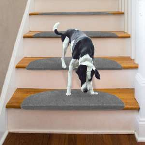 """Lehom Carpet Stair Treads Non-Slip Bullnose Carpet for Stairs 9"""" x 26"""" Indoor Stair Pads Self Adhesive Stairway Carpet Rugs for Pet Family Grey"""