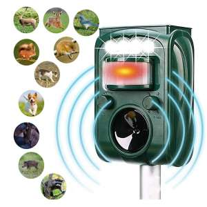 MCAIOX Ultrasonic Animal Repeller, Waterproof and Solar-Powered