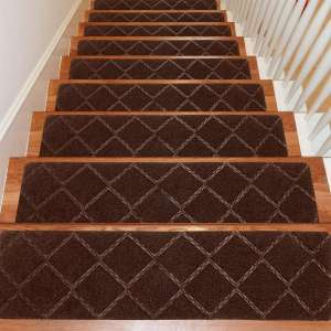Seloom Stair Treads Carpet Non-Slip with Non Skid Rubber Backing Specialized for Indoor Wooden Steps, Removable Washable