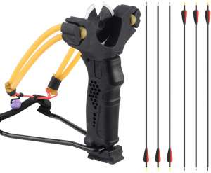 YuXing Professional Fishing Hunting Slingshot Include 6 Arrows (Alloy Arrow Sith Mixed Carbon Shaft)