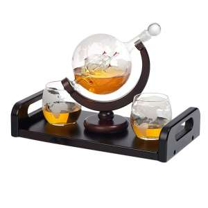 Bezrat Globe Whiskey Decanter with 2 Whiskey Glasses