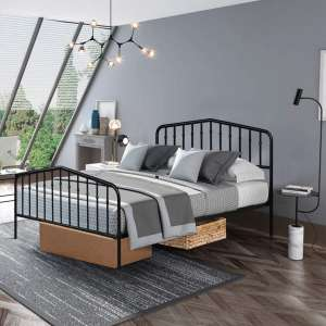Giantex Queen Size Metal Bed Frame with Vintage Footboard and Headboard