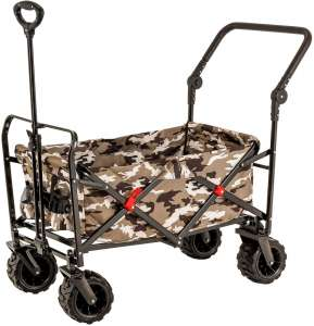 Camouflage Wide Wheel Wagon All Terrain Folding Collapsible Utility Wagon with Push Bar - Portable Rolling Heavy Duty 265 Lb Capacity Canvas Fabric Cart Buggy - Beach, Garden
