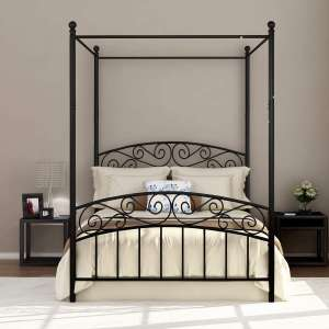 DUMEE Full Size Metal Canopy Bed Frame 660lbs